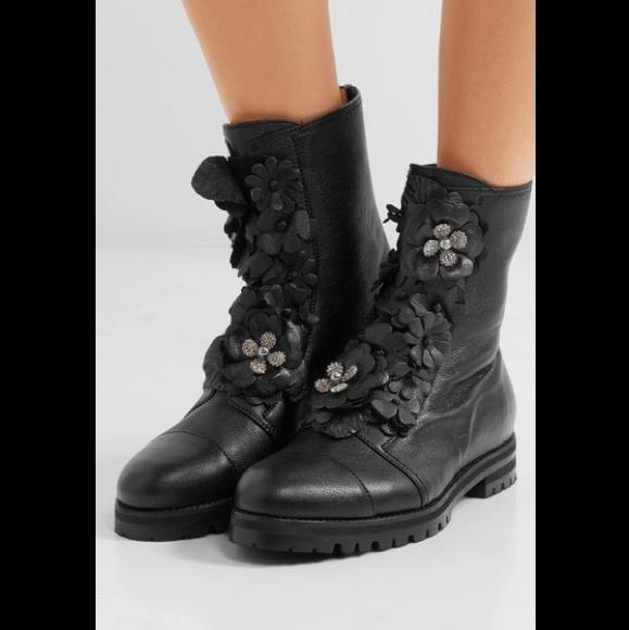 9b45ea5aa8d New Jimmy Choo Havana Metallic Floral Combat Boots